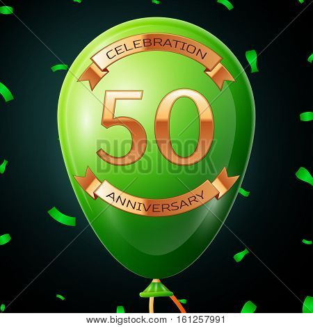 Green balloon with golden inscription fifty years anniversary celebration and golden ribbons, confetti on black background. Vector illustration