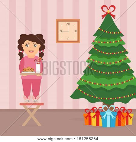 Festive design of the room.Girl milk and cookies for cute Santa festive decorated tree and gifts. Merry Christmas and Happy New year. Vector in flat style.