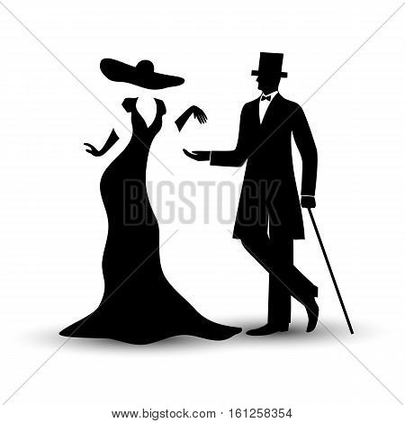 Lady and gentleman in vintage style man in a tuxedo with a cane girl in a long dress and hat black hand drawing silhouette isolate on a white background. Vector illustration.
