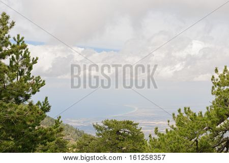 view from the high mountains of Troodos on the Mediterranean Sea