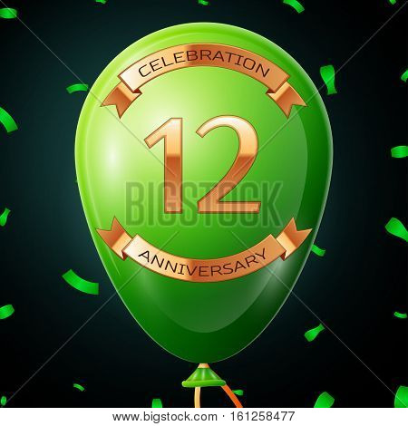 Green balloon with golden inscription twelve years anniversary celebration and golden ribbons, confetti on black background. Vector illustration