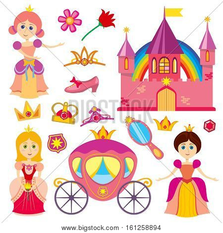Cute fairytale princess, pink carriage, crown, princess castle, cartoon little girl tiara vector set. Illustration of princess character
