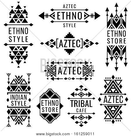 Tribal old mexican vector ornaments, indian nativity traditional logo. Geometric badge in mexican or indian style for ethno store, illustration of design mexican