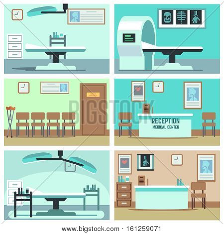 Empty hospital, doctor office, surgery room, clinic vector interiors set. Hospital room with X-ray and MRI, interior rooms in clinic illustration