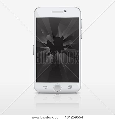 Broken glass screen of phone, smartphone vector illustration. Mobile phone with broken glasss, broken smart phone