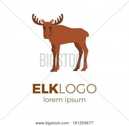Flat vector elk logo isolated on white background. Colorful illustration of forest elk for your company logo or label. Flat style European forest animal collection