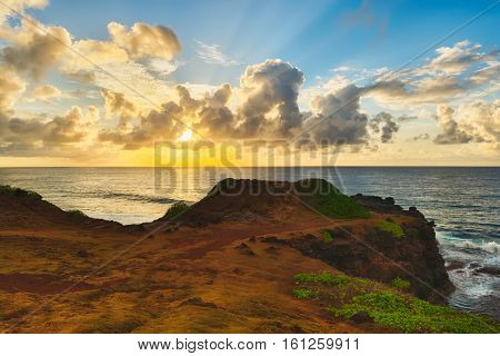Coastal view at sunrise. Mauritius. Panorama
