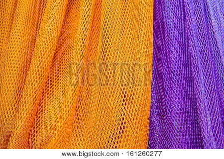 Colorful of fabric Lace rolls in shop texture background