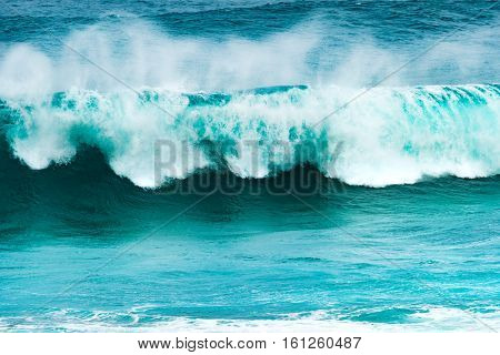 Big wave of Indian ocean. Gris Gris Beach. Mauritius