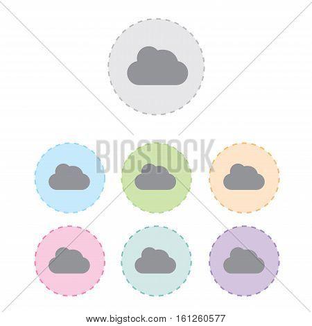 cloud sing icon button set. vector illustration