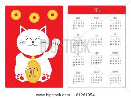 Pocket calendar 2017 year. Week starts Sunday. Flat design Vertical orientation Template. Lucky cat holding golden coin. Japanese Maneki Neco kitten waving hand. Red background. Cute character Vector
