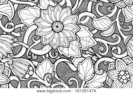 Seamless ornamental pattern with stylized with abstract flowers and tribal paisley. Ethnic floral design template can be used for wallpaper, pattern fills, textile, fabric, wrapping, surface textures.