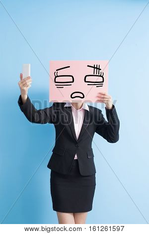 business woman take tired billboard and selfie isolated blue background
