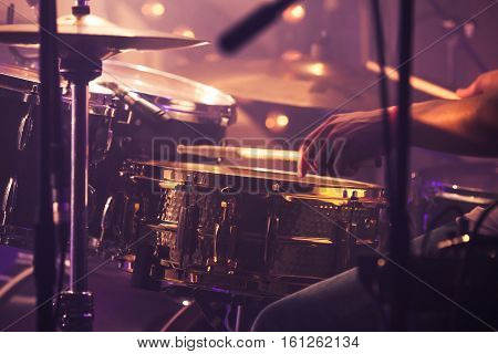 Drummer Plays On Drum Set, Vintage