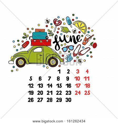 June. 2017. Calendar. Isolated vector object on white background.