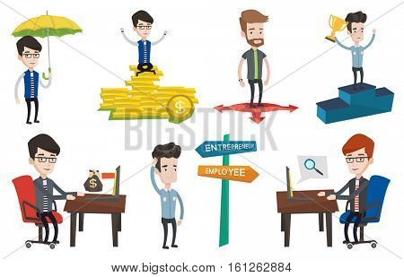 Businessman working in office and bag of money coming out of laptop. Man earning money from online business. Online business concept. Set of vector flat illustrations isolated on white background.