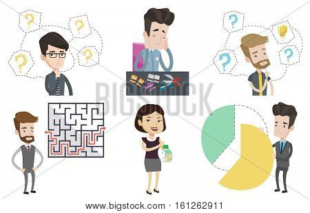 Businessman looking at labyrinth with solution. Caucasian businessman thinking about business solution. Business solution concept. Set of vector flat design illustrations isolated on white background.
