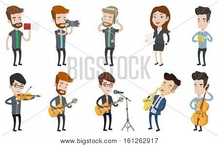 Caucasian musician playing guitar. Singer singing into a microphone and playing an acoustic guitar. Man performing with guitar. Set of vector flat design illustrations isolated on white background.