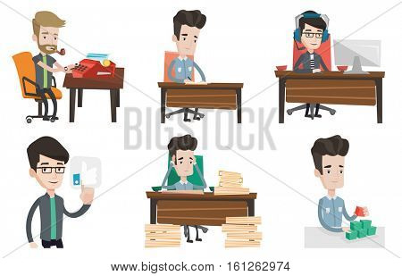 Journalist writing an article on a typewriter. Journalist working on typewriter. Journalist smoking pipe during writing an article. Set of vector flat design illustrations isolated on white background
