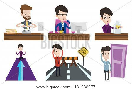 Tired employee yawning while working in office. Exhausted employee yawning. Sleepy employee drinking coffee at work in office. Set of vector flat design illustrations isolated on white background.