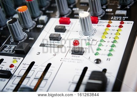 Sound music mixer control panel.Sound Control. Mixer sequencer. Background