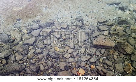rock and stones and sand of a lake bottom