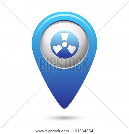 Radioactive icon on blue map pointer. Vector illustration