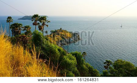 Sightseeing of Promthep cape The famous tourist attraction for beautiful sunset in the sea Phuket Island Thailand.