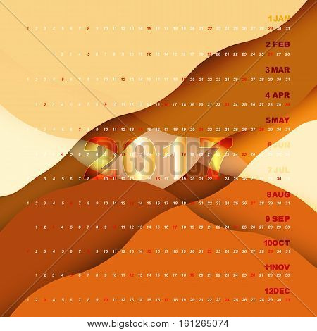 2017 calendar on orange abstract background stock vector