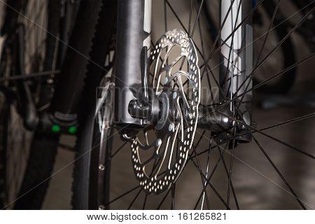 Black bicycle front wheel disc brake ,