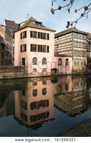 View of traditional half-timbered houses in La Petite France, Strasbourg, Alsace, France