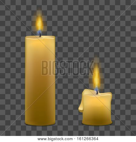 Realistic Paraffin Candles with Flame Fire Light Set on a Transparent Background. Vector illustration