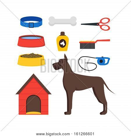 Cartoon Dog Equipment Set House Pets Accessories and Food Flat Design Style. Vector illustration