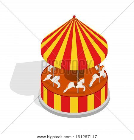 Carousel Horse or Merry-go-round Ride with Shadows Element Amusement Park Design Isometric View. Vector illustration