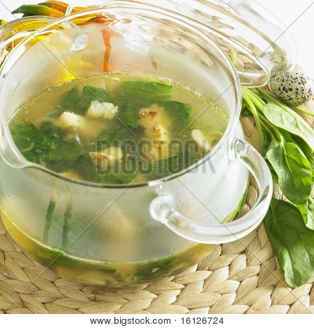 spinach soup with white fish