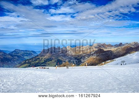 Mt. Titlis,  Switzerland - 12 October, 2015: view on the top of the mountain. Mount Titlis is a mountain of the Uri Alps located on the border between the Swiss Cantons of Obwalden and Bern.
