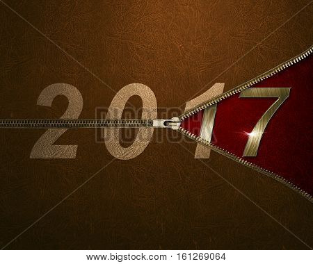 Open The Zipper On Number 2017 Background