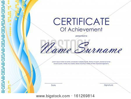 Certificate of achievement template with blue and gold curved bright wavy background. Vector illustration