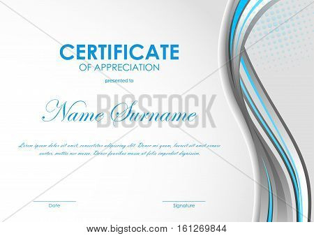 Certificate of appreciation template with blue and gray curve wavy background. Vector illustration