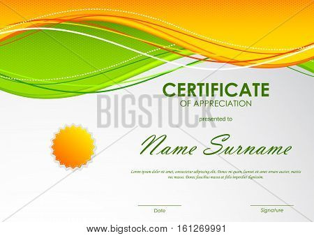 Certificate of appreciation template with orange and green wavy background and seal. Vector illustration
