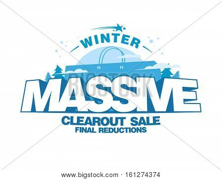 Massive winter clearout sale design with big shopping bag, final reductions