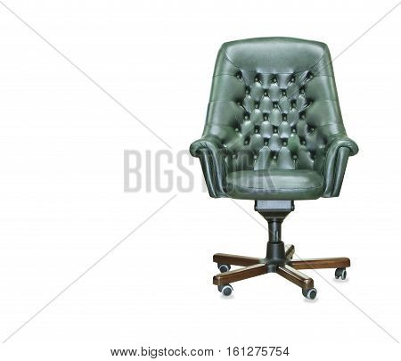 The president office chair from green leather. Isolated