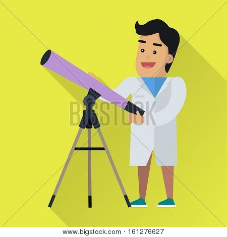 Scientists man in white robe at work. Scientist astrophysicist with telescope. Scientists in lab. Science and technology development, scientific research, space research. Science background