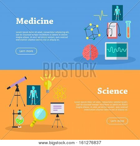 Medicine and science web banners. Laboratory template of flyear. Medicine infographic concept background. Scientific research, science lab, science test, technology illustration in flat.
