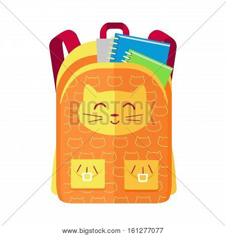 Backpack schoolbag icon with a cat in flat style. Hiking backpack. Kids backpack with notebook and ruler, education and study school, rucksack, urban backpack vector illustration on white background