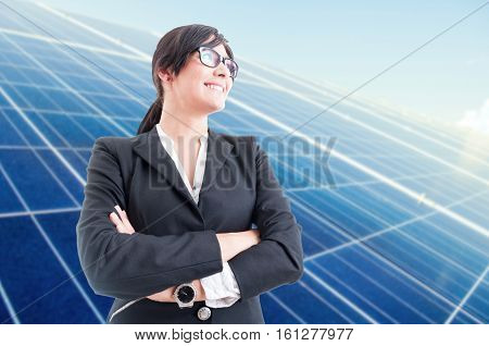 Joyful Business Woman Standing With Folded Arms