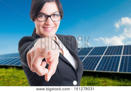Portrait Of Female Consultant Pointing Finger