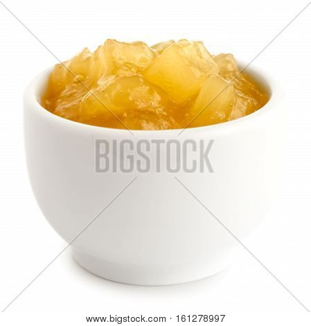 Bramley Apple Sauce In Ceramic Bowl Isolated On White.