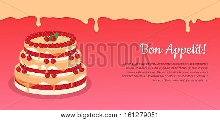 Bon appetit. Festive cake web banner. Chocolate cake bakery isolated design flat. Birthday cake, dessert and cookies, sweet confectionery, delicious cream, tasty pastry cake. Vector illustration