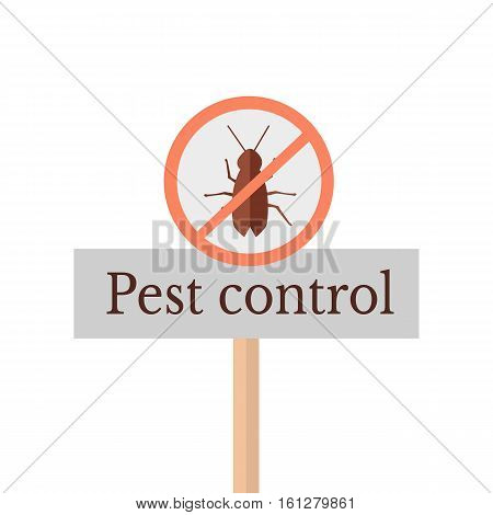 Pest control sign. Pest control icon. Sign of a red circle with an insect. Insects pest control and extermination. Insect repellent emblem. Warning danger sign. Vector illustration